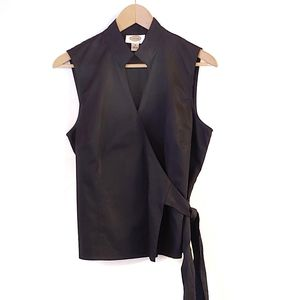 Talbot's Tuxedo Style Collared Wrap Top